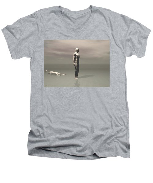 Men's V-Neck T-Shirt featuring the digital art Anger by John Alexander