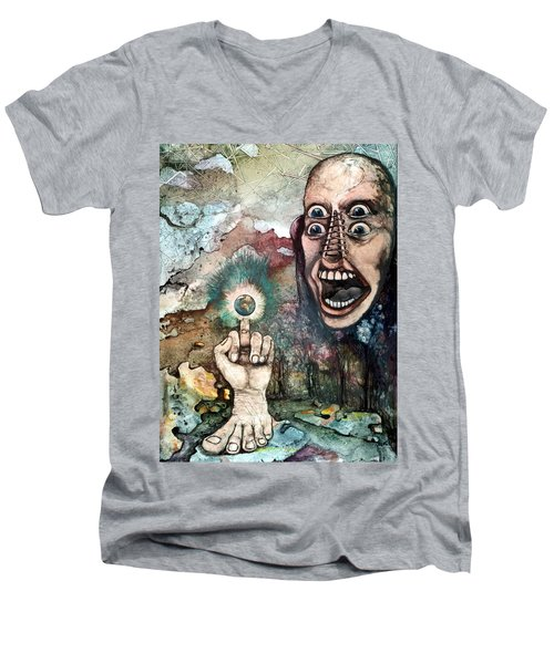 Men's V-Neck T-Shirt featuring the painting Anger Of Archon by Mikhail Savchenko