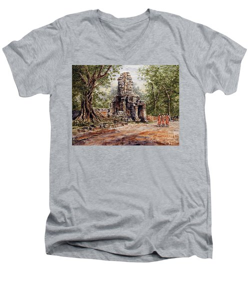 Men's V-Neck T-Shirt featuring the painting Angkor Temple Gate by Joey Agbayani