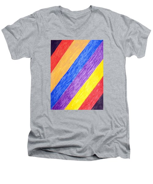 Men's V-Neck T-Shirt featuring the painting Angles by Stormm Bradshaw