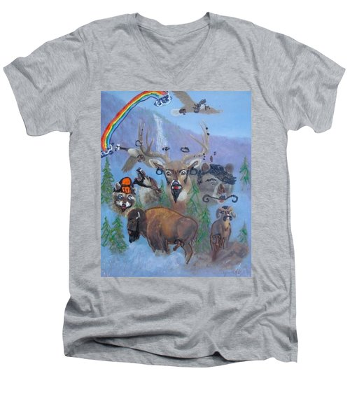 Men's V-Neck T-Shirt featuring the painting Animal Equality by Lisa Piper
