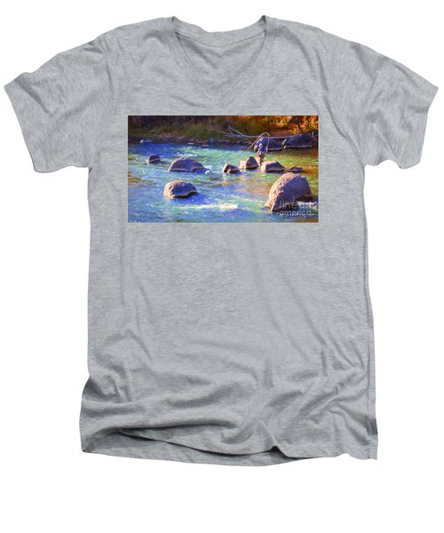 Animas River Fly Fishing Men's V-Neck T-Shirt
