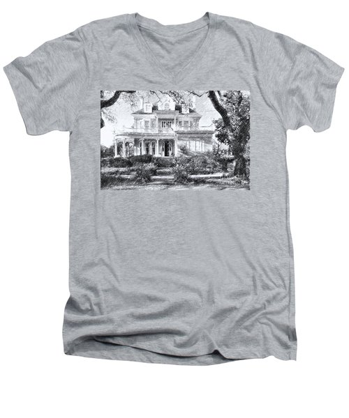 Anthemion At 4631 St Charles Ave. New Orleans Sketch Men's V-Neck T-Shirt by Kathleen K Parker