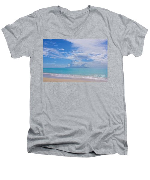 Antigua View Of Montserrat Volcano Men's V-Neck T-Shirt by Olga Hamilton