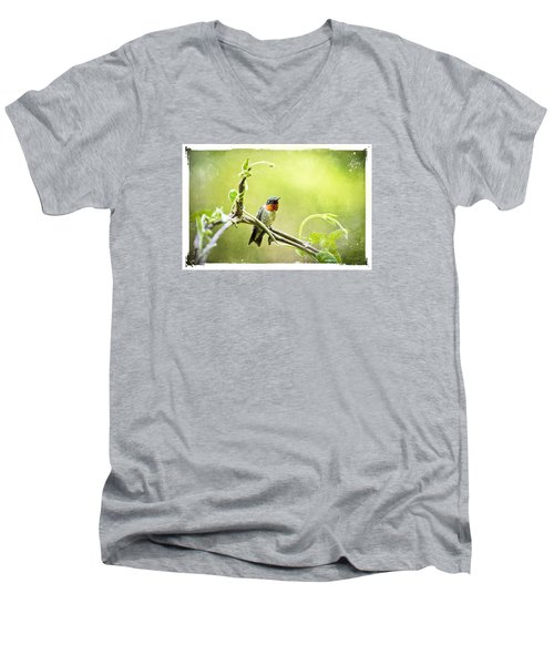 Men's V-Neck T-Shirt featuring the mixed media Antique Hummingbird Postcard No. 9038 by Christina Rollo
