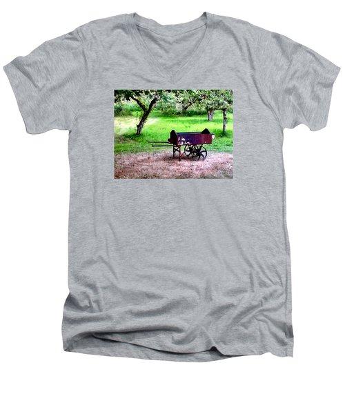 Antique Wheelbarrow Men's V-Neck T-Shirt by Sadie Reneau