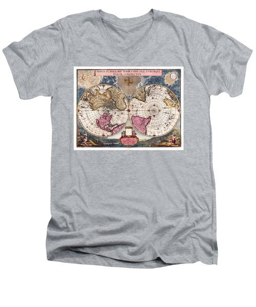 Antique World Map 1695 Novus Planiglobii Terrestris Per Utrumque Polum Conspectus Men's V-Neck T-Shirt by Karon Melillo DeVega