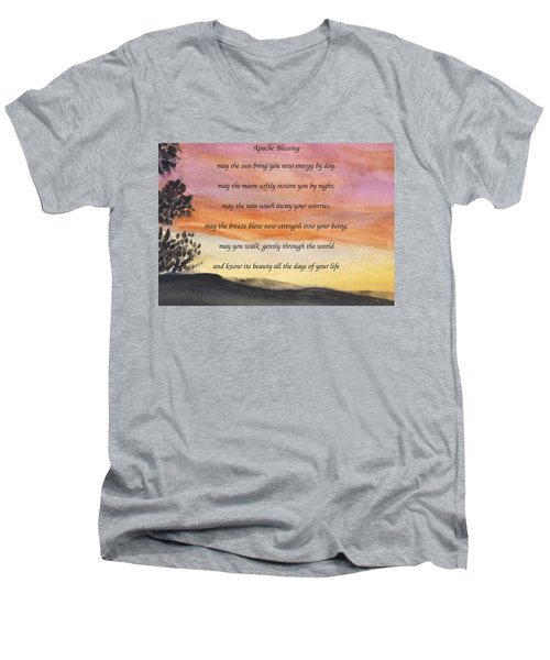 Apache Blessing With Sunset Men's V-Neck T-Shirt