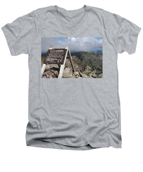 Appalachian Trail Mount Katahdin Men's V-Neck T-Shirt