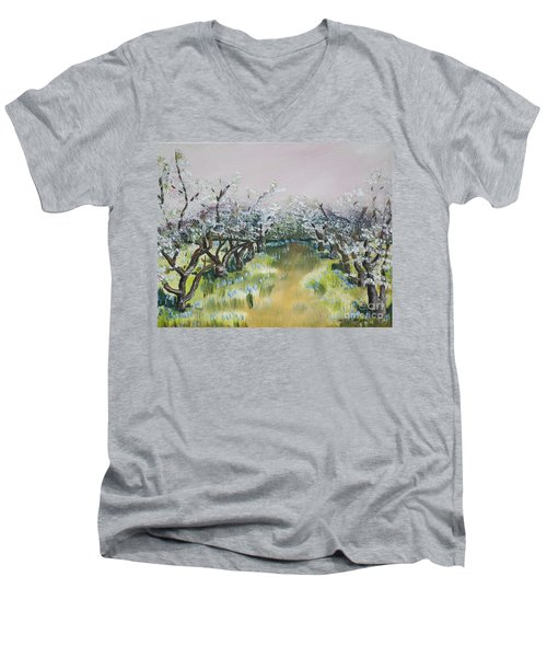 Apple Blossoms In Ellijay -apple Trees - Blooming Men's V-Neck T-Shirt