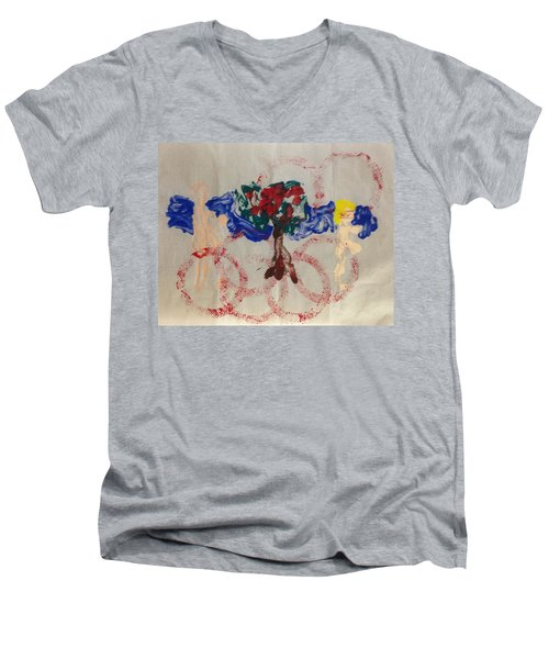 Apple Rings Men's V-Neck T-Shirt by Erika Chamberlin