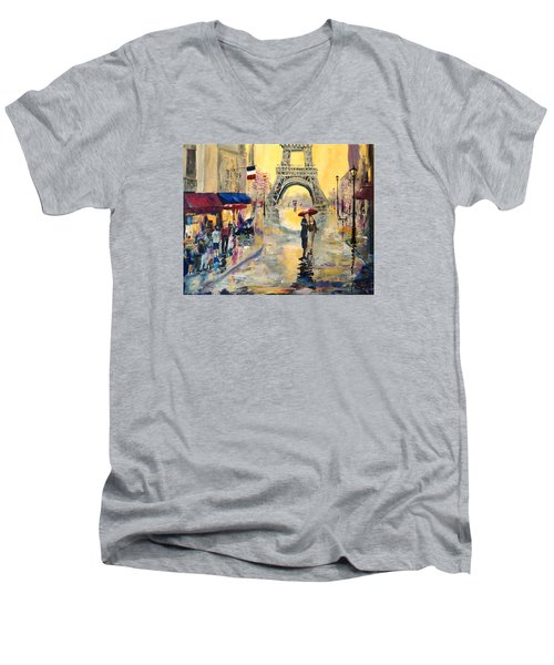 Men's V-Neck T-Shirt featuring the painting April In Paris by Alan Lakin