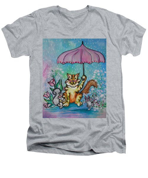 Men's V-Neck T-Shirt featuring the painting April Showers by Leslie Manley