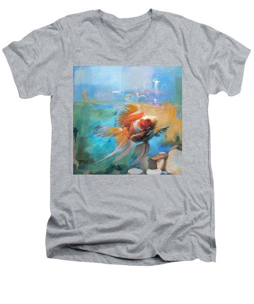 Aqua Gold Men's V-Neck T-Shirt by Catf
