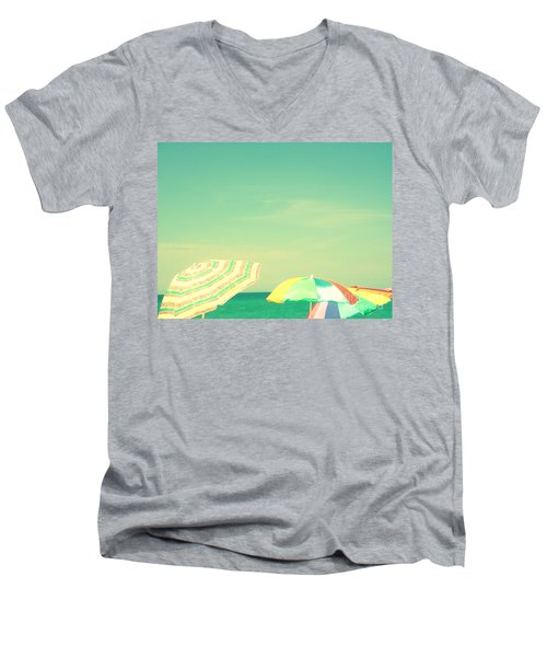 Men's V-Neck T-Shirt featuring the digital art Aqua Sky With Umbrellas by Valerie Reeves