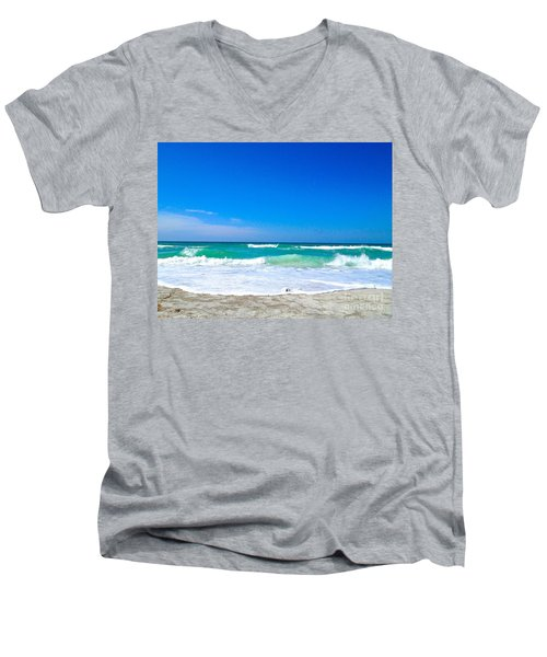 Men's V-Neck T-Shirt featuring the photograph Aqua Surf by Margie Amberge