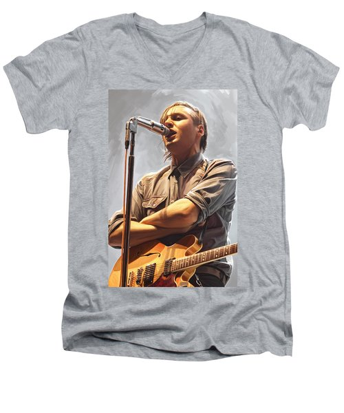 Men's V-Neck T-Shirt featuring the painting Arcade Fire Win Butler Artwork by Sheraz A
