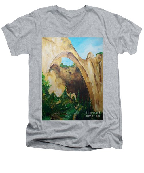 Men's V-Neck T-Shirt featuring the painting Arch by Eric  Schiabor