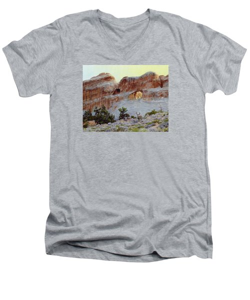 Arches Mulie Men's V-Neck T-Shirt by Bruce Morrison