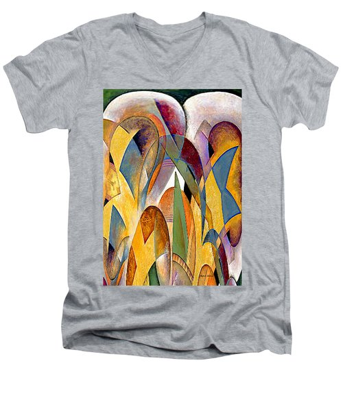 Men's V-Neck T-Shirt featuring the mixed media Arches by Rafael Salazar