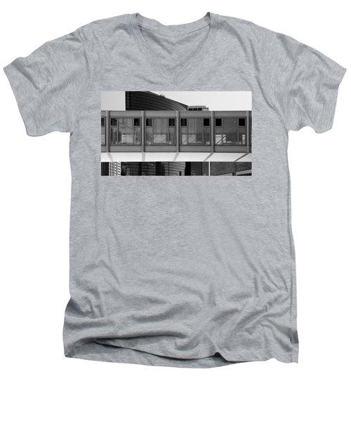 Architectural Pattern Glass Bridge Black White Men's V-Neck T-Shirt
