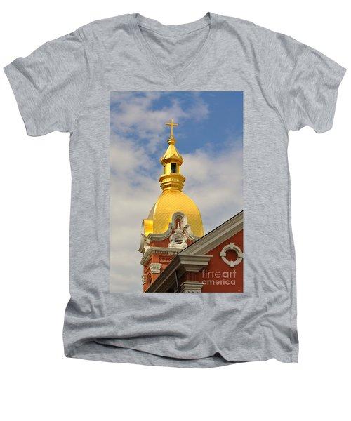 Architecture - Golden Cross Men's V-Neck T-Shirt by Liane Wright