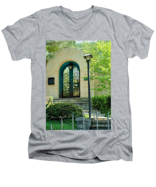 Men's V-Neck T-Shirt featuring the photograph Archway In Swan Lake by Janette Boyd