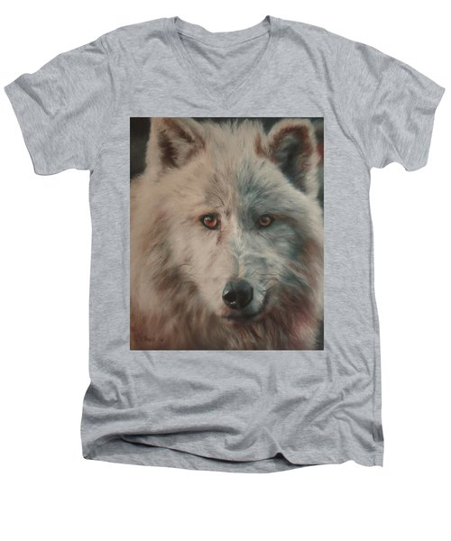 Men's V-Neck T-Shirt featuring the painting Arctic Wolf by Cherise Foster