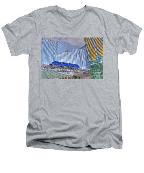 Aria Las Vegas Nevada Hotel And Casino Tram  Men's V-Neck T-Shirt
