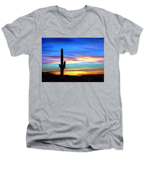 Arizona Sunset Saguaro National Park Men's V-Neck T-Shirt