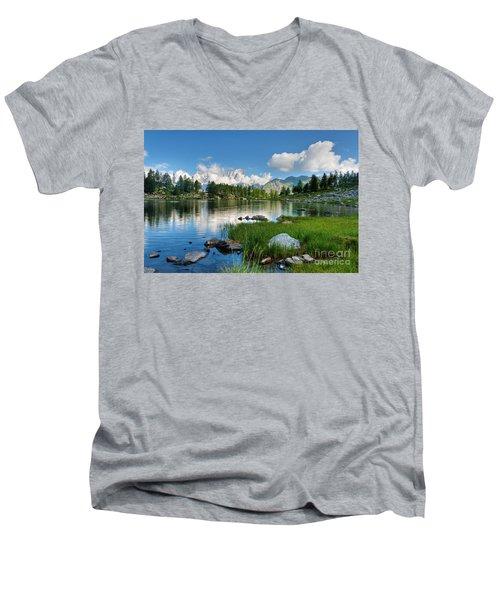 Arpy Lake - Aosta Valley Men's V-Neck T-Shirt by Antonio Scarpi