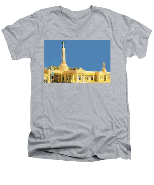 Men's V-Neck T-Shirt featuring the photograph Art Deco Gas Station by Janette Boyd