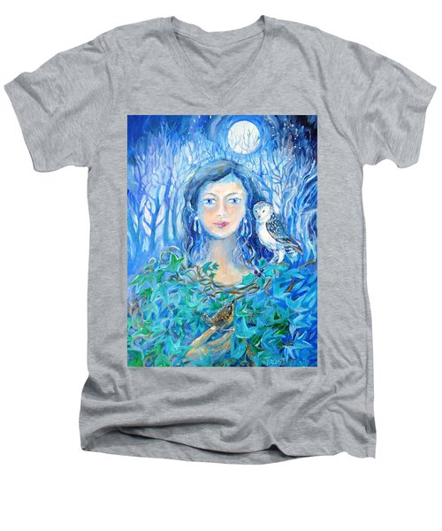 Artemis And The Wren- Men's V-Neck T-Shirt by Trudi Doyle