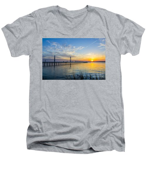 Calm Waters Over Charleston Sc Men's V-Neck T-Shirt by Dale Powell