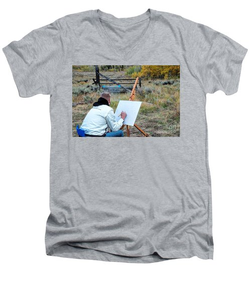 Artist Point Men's V-Neck T-Shirt by Jim Garrison