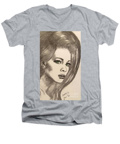 Men's V-Neck T-Shirt featuring the drawing Ashton by Marianne NANA Betts