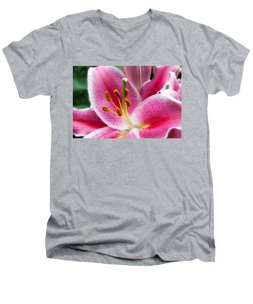 Asian Lily Men's V-Neck T-Shirt by Michael Porchik