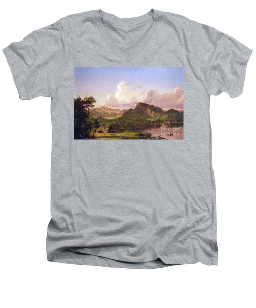At Home On The Lake By Frederick Edwin Church Men's V-Neck T-Shirt