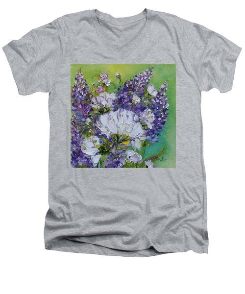 Men's V-Neck T-Shirt featuring the painting At Peg's Request by Judith Rhue