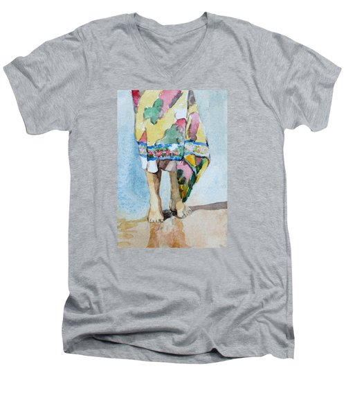 At The Beach 1  Men's V-Neck T-Shirt by Becky Kim