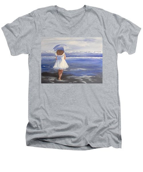 At The Beach Men's V-Neck T-Shirt by Catherine Swerediuk