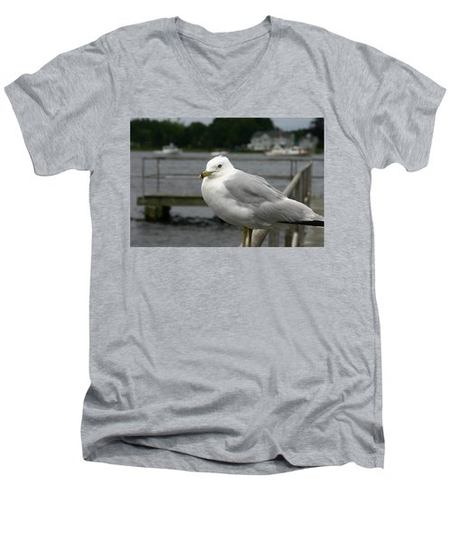 Men's V-Neck T-Shirt featuring the photograph At The Boat Landing by Denyse Duhaime