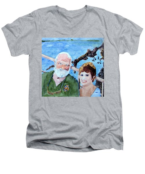 Men's V-Neck T-Shirt featuring the painting At The Dock Of The Bay by Sandy McIntire
