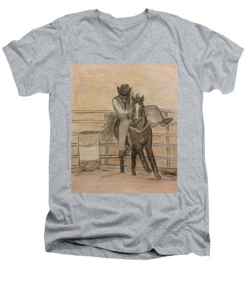At The Rodeo Men's V-Neck T-Shirt by Christy Saunders Church