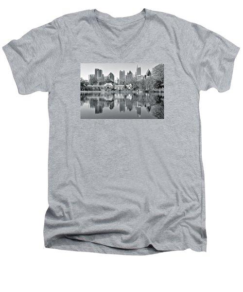 Atlanta Reflecting In Black And White Men's V-Neck T-Shirt
