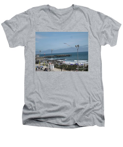 Men's V-Neck T-Shirt featuring the photograph Atlantic City 2009 by HEVi FineArt