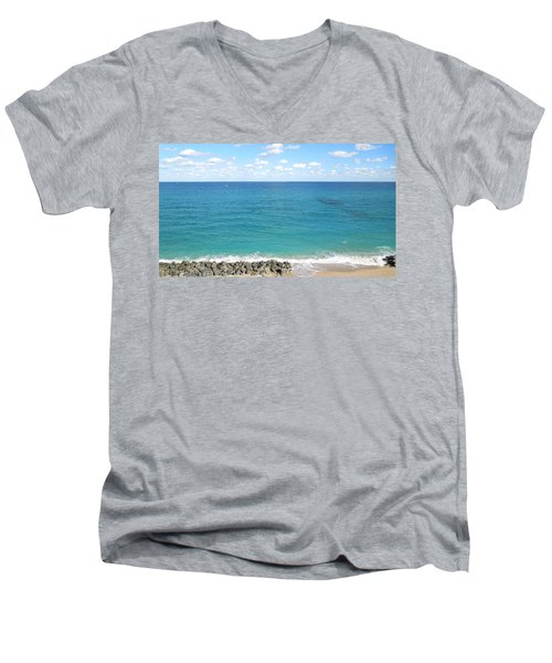 Atlantic Ocean In South Florida Men's V-Neck T-Shirt