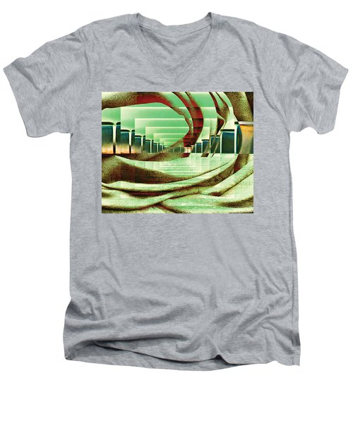 Men's V-Neck T-Shirt featuring the digital art Atrium by Paula Ayers