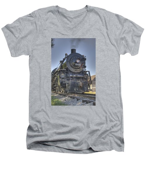 Atsf 3415 Head On Men's V-Neck T-Shirt by Shelly Gunderson