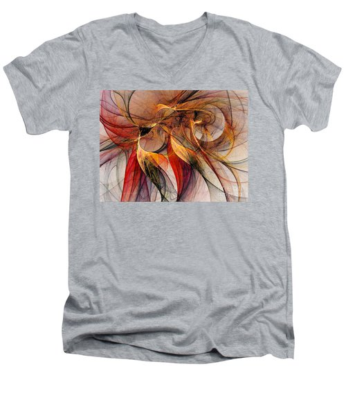 Attempt To Escape-abstract Art Men's V-Neck T-Shirt